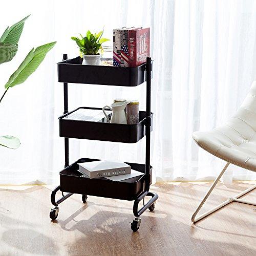 CORNERIA Rollwagen für Zuhause Küche Schlafzimmer Büro - 3-Tier Einstellbare Allzweckwagen (SCHWARZ)