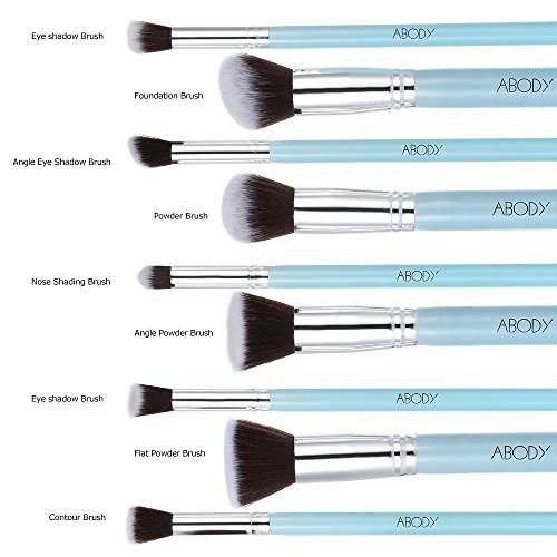 Abody 9Pcs Makeup Brush Kit Wood Professional Cosmetic Set Foundation Brush Powder Brush Eyeshadow Brushes Blue