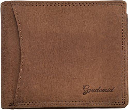 Goudsmid® Ledergeldbörse Geldbeutel Geldbörse Portemonnaie Ledergeldbeutel Brieftasche Leder Herren (Hellbraun 1 (2cm))