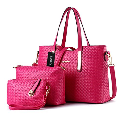 Tibes Fashion Pu Leather Handbag+Shoulder Bag+Purse 3pcs Bag Rose Pink