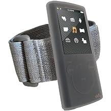 igadgitz Silikon Hülle Schutzhülle Tasche Etui Case Skin in Transparent Klar mit Armband Oberarmtasche für Sport Jogging und Fitnessstudio für MP3-Players Sony Walkman NWZ-E453/E454/E455/E463/E464 + Display Schutzfolie