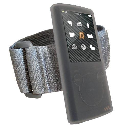 igadgitz Silikon Hülle Schutzhülle Tasche Etui Case Skin in Transparent Klar mit Armband Oberarmtasche für Sport Jogging und Fitnessstudio für MP3-Players Sony Walkman NWZ-E453/E454/E455/E463/E464 + Display Schutzfolie - Walkman-mp3-ohrhörer