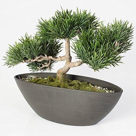 Künstlicher Bonsai Podocarpus in Dekoschale, 110 Zweige, 25 cm - hochwertiger Kunstbonsai / kleiner Kunstbaum -