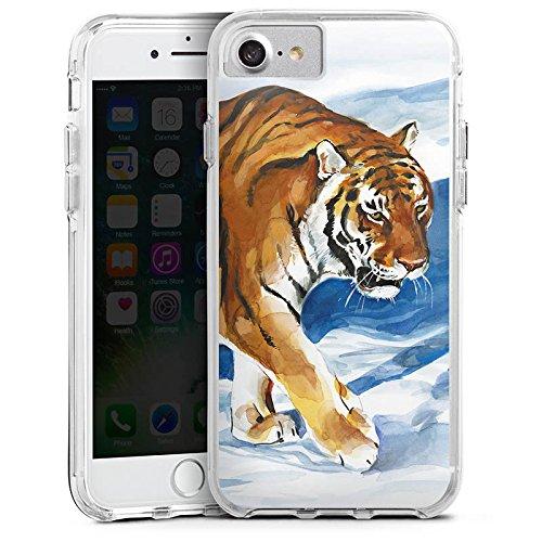Apple iPhone X Bumper Hülle Bumper Case Glitzer Hülle Tiger Snow Schnee Bumper Case transparent