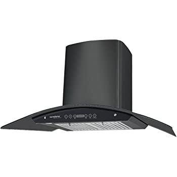 Eurodomo 90 cm 1200 m3/h Auto-Clean Chimney (Classy HC TC 90, Black) with Free Installation,Stainless Steel Black