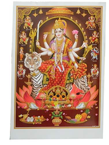 Bild Durga auf Tiger 92 x 62 cm Gottheit Hinduismus Kunstdruck Plakat Poster Glitzerfarbe Religion Spiritualität Dekoration