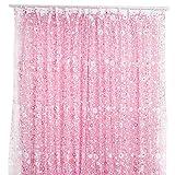 Amesii, tende in voile velato con motivo floreale rustico per finestra, porta, tenda balcone, mantovane, pannelli Pink