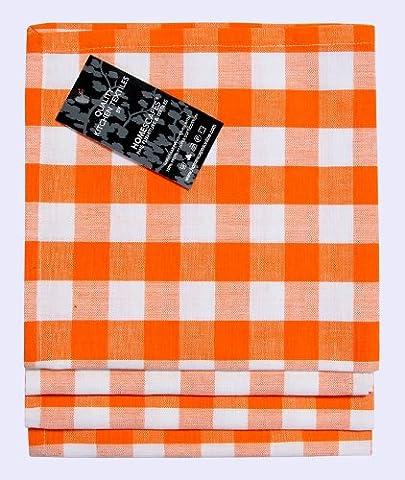 Homescapes – Quatre – Serviettes de Table à Carreaux – Carreau Orange et Blanc – 100% Coton – 18 x 18 Pouces (45 x 45 cm) Serviette de Table Tissé à la Main Facile à Entretenir – Lavable à 60 Degrés Centigrade