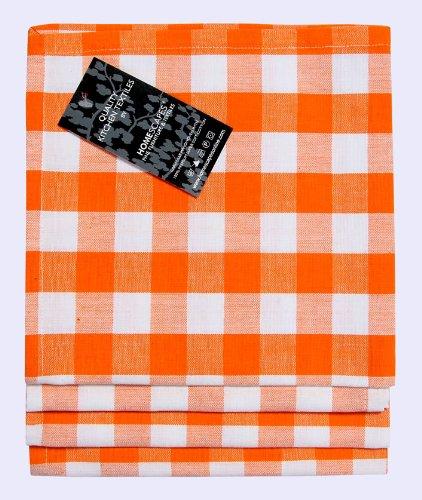Homescapes Block Check–Servilletas Set 4Piezas Naranja Blanco