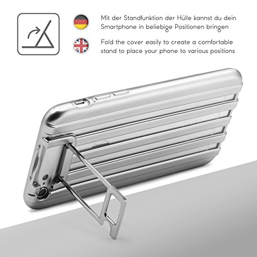 Urcover® Apple iPhone 6 / 6s Handy Schutz-Hülle Metal Optik   Backcase in Silber   TPU Cover   Smartphone Zubehör Case Etui Schale Silber / Transparent