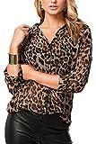 Donna Si Leopardato Manica Lunga Pulsante Chiffon Camicia da Lavoro Top Bluse e Camicie Leopard S