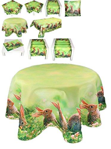 entzückende pflegeleichte Tischdecke rund 150 cm OSTERN Hasen auf der Wiese grün braun digitaler Fotodruck modern Polyester Osterdecke Ostertischdecke (Tischtuch rund 150 cm)
