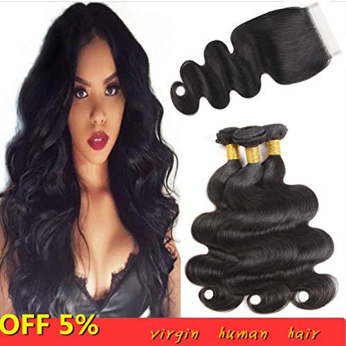 10a brasiliani dell'onda del corpo dei capelli del virgin 3 pacchi con l'onda del corpo dei capelli umani non trattata vergine della chiusura con colore naturale della chiusura(10 12 14+10inches)
