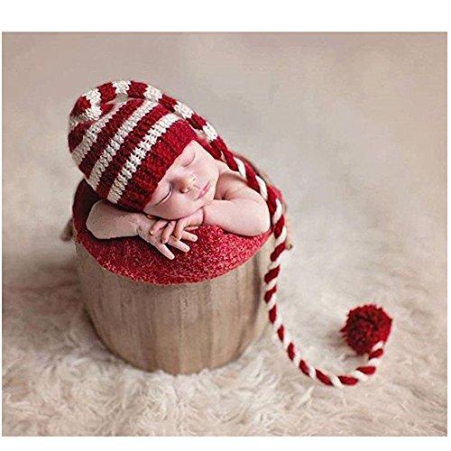 Neugeborene Baby Fotografie Requisiten Boy Girl Crochet Kostüm Outfits langem Schwanz (Hut Herren Kostüm Schwanz Und)