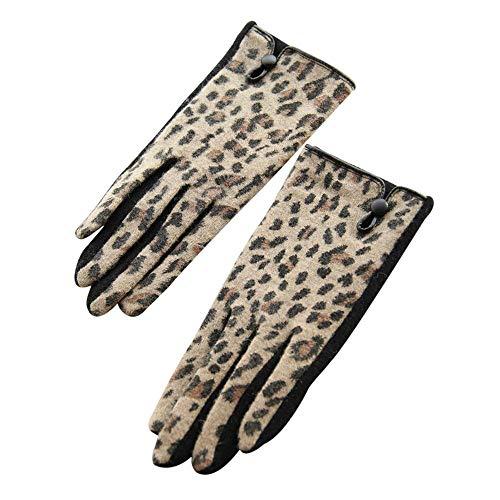 FORAB Guantes Suaves Y Cómodos del Diseño del Empalme del Estampado Leopardo Elegante Negro para Las Mujeres, Un Tamaño