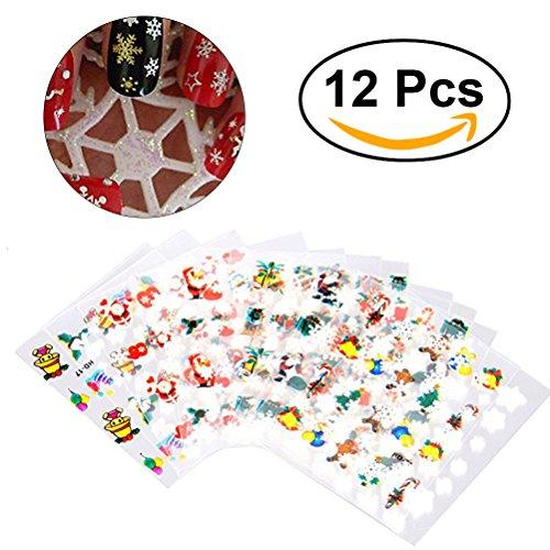 Nagel-Aufkleber, 12 Blatt-Schneeflocke-Kunst-Aufkleber Weihnachtsnagel-Spitze-Abziehbild-Maniküre-Verfassung