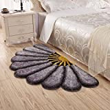 Raedial Arts Half Round Grey Color Sunflower Area Rug Mats For Bedroom Living Room Round Mats Computer Chair Mat