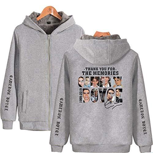 Cameron-damen T-shirt (dfjrdjyjrdj Freizeit und hochwertige Cameron Boyce modische gepolsterte Zip-Up Hoodie Gray D XXXXL)