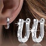 Boheng Versilberte Ohrringe in U-Form mit Ohrringen aus Zirkonkupfer