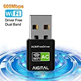 Aigital WiFi Adapter 600Mbps Wireless Network USB Dongle 5GHz Dual Band(433Mbps+150Mbps) Long Range