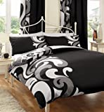 BLACK WHITE & GREY PRINTED KING SIZE DUVET COVER BED SET