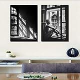WZJYAJZW Wohnkultur Leinwand Malerei Moderne minimalistische schwarz-weiß Fenster Mädchen Schlafzimmer Gemälde Rahmenlos