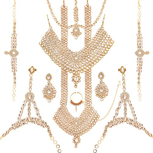 I Jewels Traditional Gold Plated Kundan Bridal Set for Women(BLP004W)