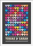 House of Happiness - Schenken mit Herz! Herzen, bunt, Gästebuch zur Hochzeit Gastgeschenk Gästeposter Hochzeitsgeschenk 50x70 cm für Trauung Ehe Heirat. Bilderrahmen.
