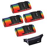 4 pacchi Cinture per bagagli, Password Lock Regolabile Viaggio Imballaggio Cintura Valigia Bagaglio Sicurezza cinghie