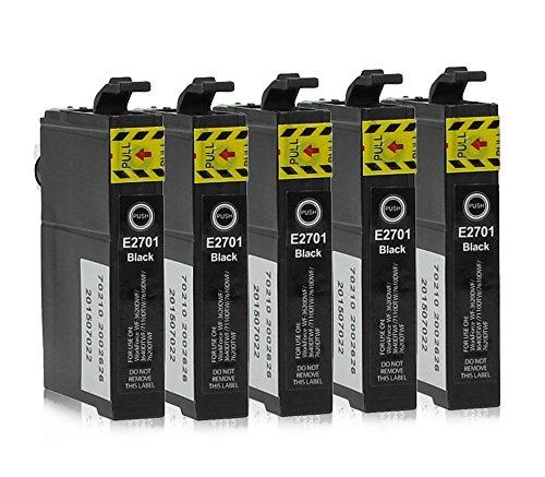 5 Druckerpatronen kompatibel zu Epson 27-XL, T2701, T2711 (Schwarz) passend für Epson WorkForce WF-3600 WF-3620-DWF WF-3620-WF WF-3640-DTWF WF-7110-DTW WF-7600 WF-7610-DWF WF-7620-DTWF Epson Tinte Wf-3640