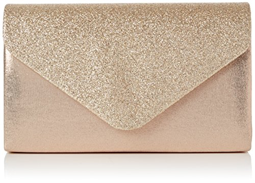 (Swankyswans Damen Kelly Glitter Envelope Clutch Party Prom Bag Tasche, Gold (Champagne) One Size)