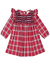 Masala Baby Little Girl's Smocked Dress Tartan Dress