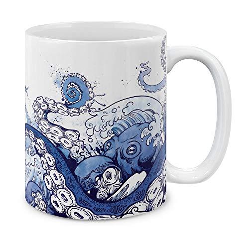 MUGBREW Kaffeetasse, rustikaler Holzanker, Keramik, 325 ml, Blau 11 ounce Giant Blue Octopus (Octopus-becher Blauer)
