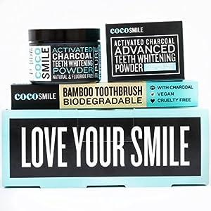 Aktivkohle Zähne Whitening Powder | 100% reine Aktivkohle | inklusive anthrazit Bambus Zahnbürste | 80g