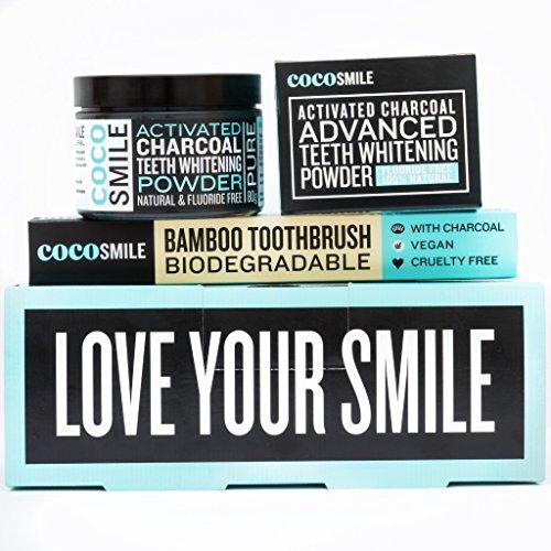 Les dents naturelles poudre blanche avec du charbon actif, inclus bambou Brosse à dents, sans fluorure blanchissant pour les dents, 100% pur sans additifs chimiques pour les dents blanc (80 g)