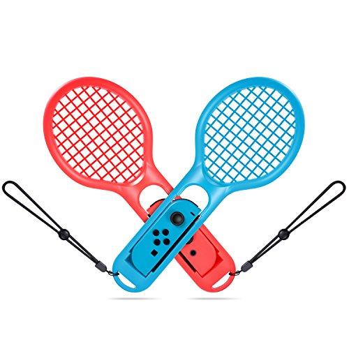 Turn Raise Tennisschläger für Nintendo Switch Joy-con Controller, Doppelpack Tennisschläger für Mario Tennis Aces Spiel, Zubehör kompatibel Nintendo Switch Game Mario Tennis (Blau und Rot) -