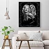 yhyxll Ritratto Poster Pittura su Tela Marilyn Monroe Tatuaggi Stampe Immagini in Bianco e Nero per pareti Immagini per Soggiorno Decor 50X60CM