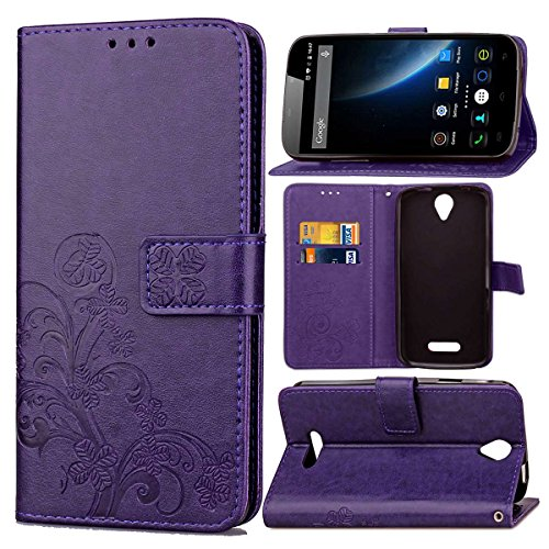Guran® PU Ledertasche Case für Doogee X6 / X6 Pro Smartphone Flip Cover Brieftasche und Stent Funktionen Hülle Glücksklee Muster Design Schutzhülle - Lila