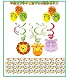 Amscan Inc. Kindergeburtstag Dschungel Tiere Dekoration Set // Happy Birthday Banner, Konfetti , Dekospiralle, Latexballon //