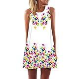 Elecenty Damen Ärmellos Sommerkleid Minikleid Strandkleid Partykleid Mädchen Blumenmuster Kleider Frauen Mode Kleid Kurz Hemdkleid Reizvolle Blusekleid Kleidung Cocktailkleid (M, Weiß87)