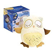 Plush Soother Owl, Sleep Soother Owl Plush Nightlight Projector for Baby, 8 Baby-Soothing Sounds, Amniotic Fluid Sounds, Adjustable Volume