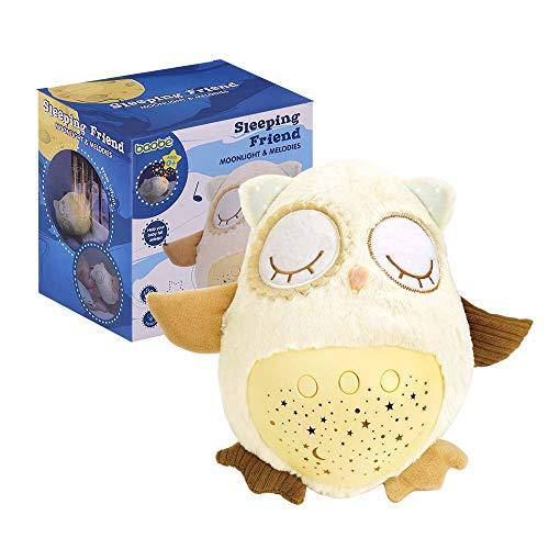 LED-Sternenprojektor, Nachtlicht Lampe Einschlafhilfe für Baby Kinder, Nachttischlampe mit 8 Songs, Lautstärke einstellbar - Soft-plüsch Plüschtiere