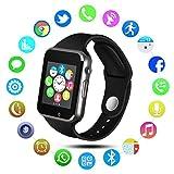 Reloj Inteligente QIMAOO Bluetooth 3.0 Smart Watch y Trabajo con Tarjeta SIM Reloj Deportivo con Rastreador de Actividad, Podómetro Inteligente,Sueño, Notificación de SMS Pulsera Actividad Inteligente Compatible con Android/ iOS( A1)