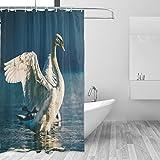 COOSUN Swan Schnabel White Eyes Vogel Wasser Fluss See Drucken Duschvorhang, Polyester-Gewebe Duschvorhang, 66 x 72-inch 66x72 Mehrfarbig