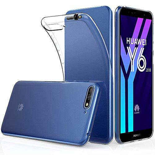 Peakally Huawei Y6 2018 Hülle, Soft Silikon Dünn Transparent Hüllen [Kratzfest] [Anti Slip] Durchsichtige TPU Schutzhülle Case Weiche Handyhülle für Huawei Y6 2018 5.7