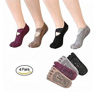 SANIQUEEN.G 4 Paar Damen Rutschfeste Zehensocken Baumwolle Yoga Socken für Yoga, Pilates, Gymnastik Tanz Fitness