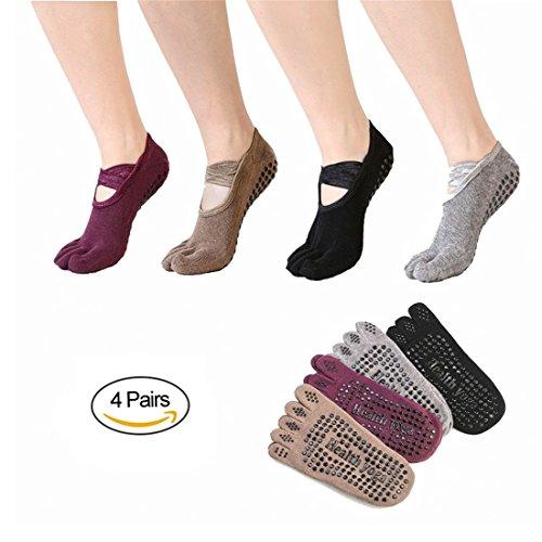 SANIQUE 4 Paar Damen Rutschfeste Zehensocken Baumwolle Yoga Socken für Yoga, Pilates, Gymnastik Tanz Fitness (Gruppe 1)