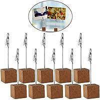 4.5 pulgadas de madera foto mesa porta cubo tarjeta Base Nota escritorio Clips Portanotas, 10pcs