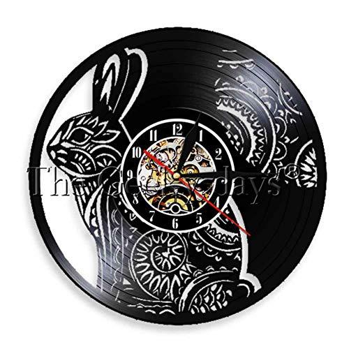 CHLZYY Niedliche weiße Kaninchen Vinyl Schallplatte Wanduhr kreative Kaninchen handgemachte Künstler Dekoration Tier Dekoration Uhr