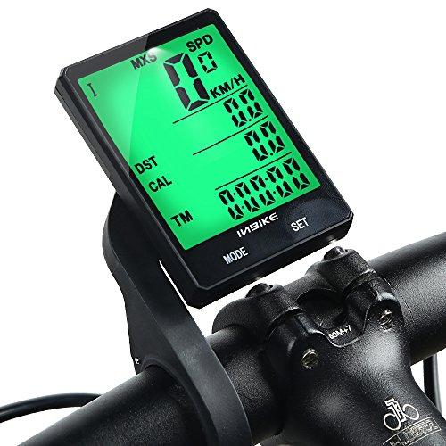 Inbike Computer per Bici, Wireless Impermeabile Contachilometri da Bicicletta con Retroilluminazione Multifunzioni Odometro per Ciclismo(Luce verde,con staffa)